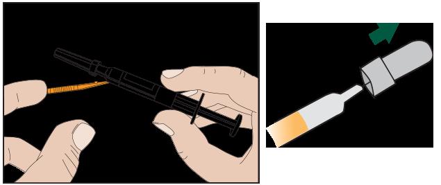 Ta tag i spetsen på det färgade stickskyddet och böj det bort från sprutan. Ta bort det grå nålskyddet genom att dra det rakt ut.